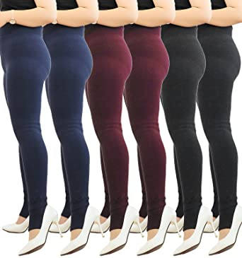 802ef3767bfa 6 Pack Ultra Soft Plus Size Fleece Lined Chunky Leggings Winter Warm High  Waist Tights for Women at Amazon Women's Clothing store:
