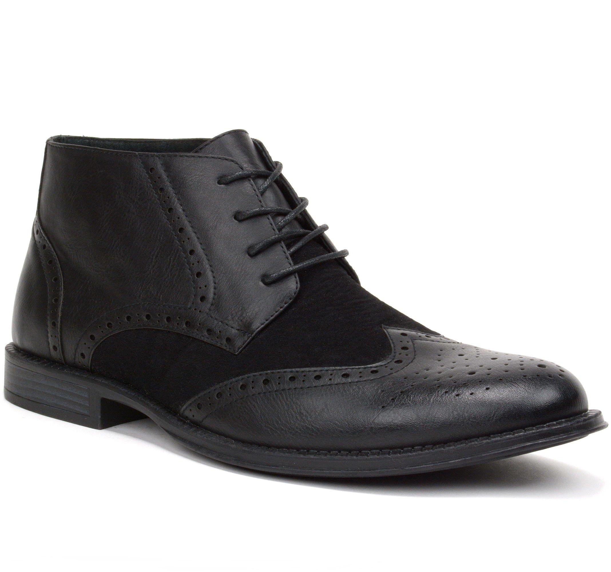 alpine swiss Geneva Men's Ankle Boots Brogue Wing Tip Dress Shoes Black 11 M US