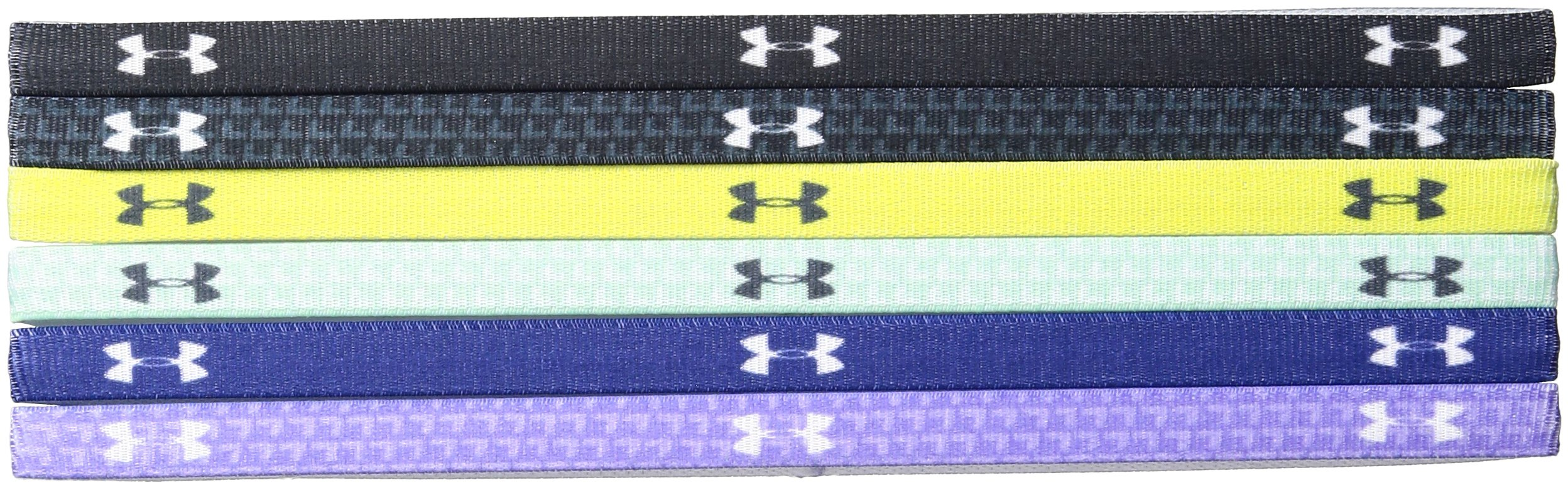 Under Armour Girls' Graphic Headbands - 6 Pack, Black/Smash Yellow, One Size Fits All