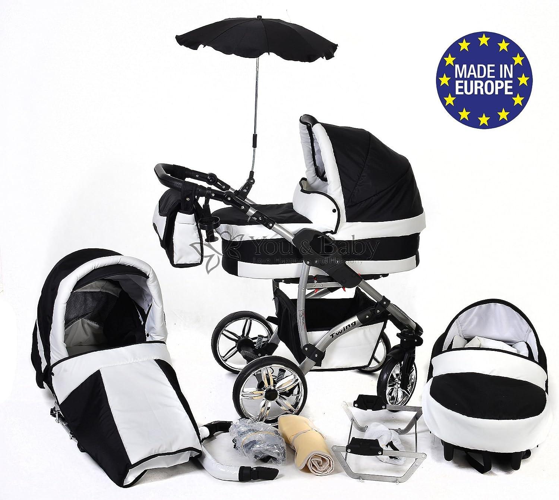 Twing - Sistema de viaje 3 en 1, silla de paseo, carrito con capazo y silla de coche, RUEDAS GIRATORIAS y accesorios (Sistema de viaje 3 en 1, negro, blanco)