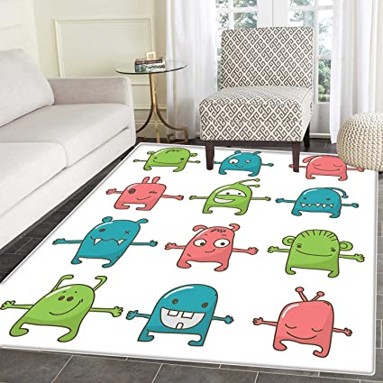amazon com doodle area rug carpet twelve monsters side by side cute