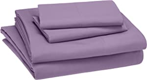 AmazonBasics Kid's Sheet Set - Soft, Easy-Wash Lightweight Microfiber - Queen, Violet