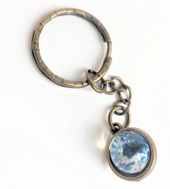 Blue Planet orbit 3D keychain, key ring or purse handbag charm