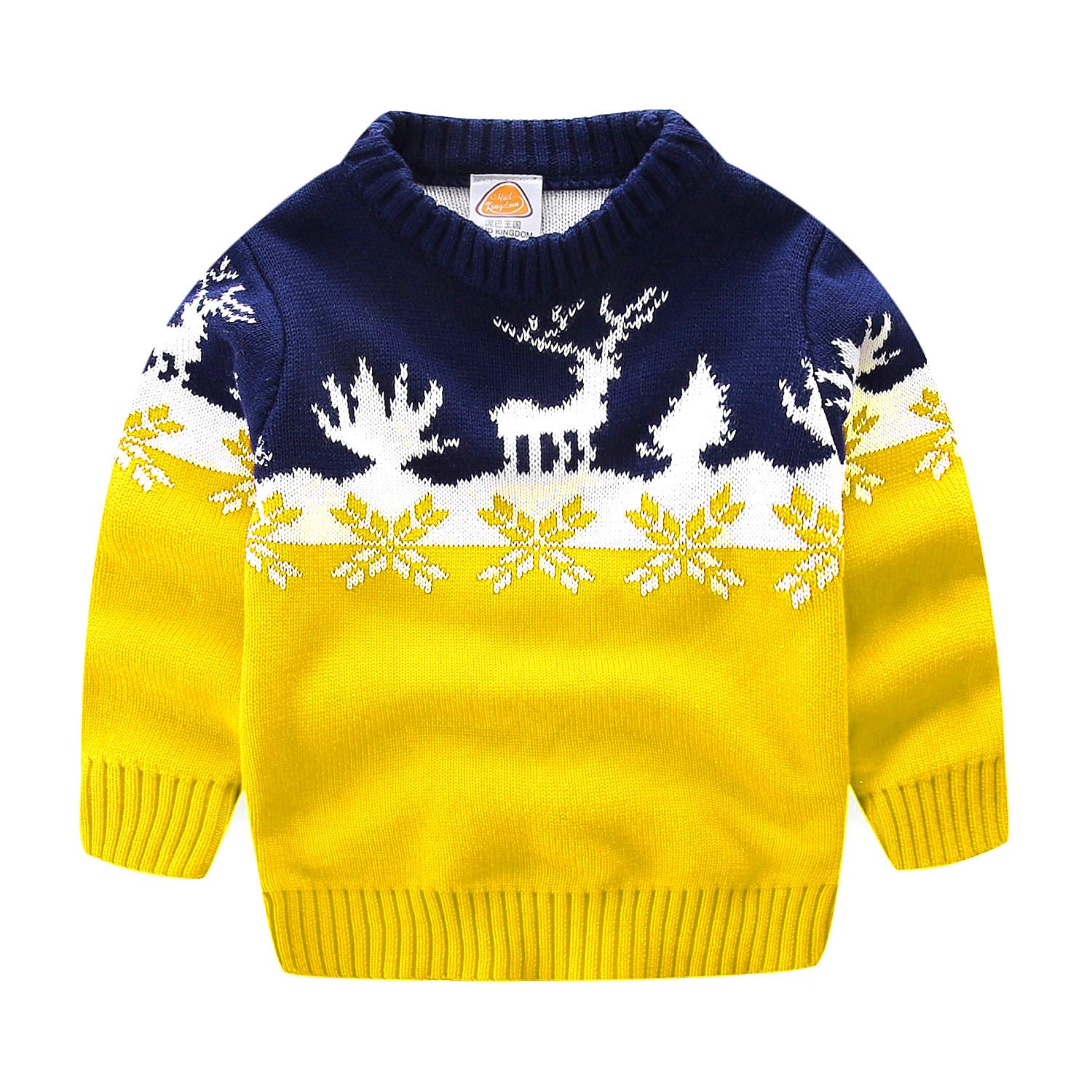 Mud Kingdom Toddler Boys Christmas Sweaters Xmas Reindeer Clothes 2T Yellow