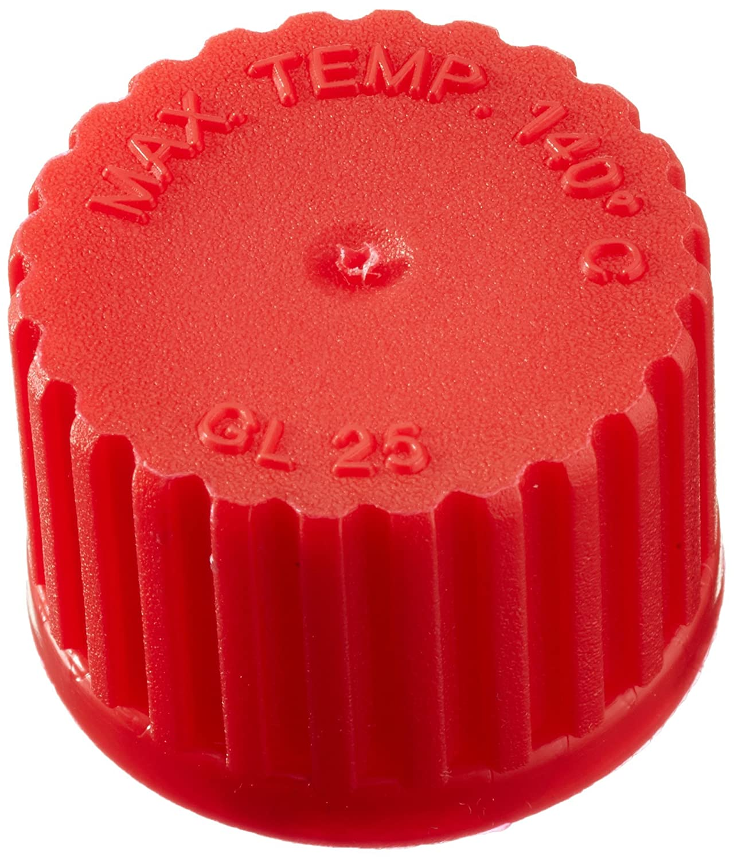 neoLab E-1679 Schraubkappen GL 25 aus PP, geschlossen, Rot (10-er Pack)