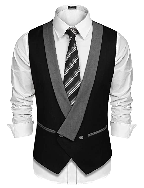 Men's Vintage Vests, Sweater Vests JINIDU Mens Suit Vest Shawl Collar Waistcoat Double Breasted Party Vest Jacket $26.99 AT vintagedancer.com