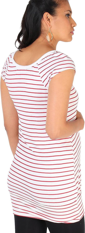 KRISP® Women Maternity Striped T Shirt Casual Pregnancy Tops Black
