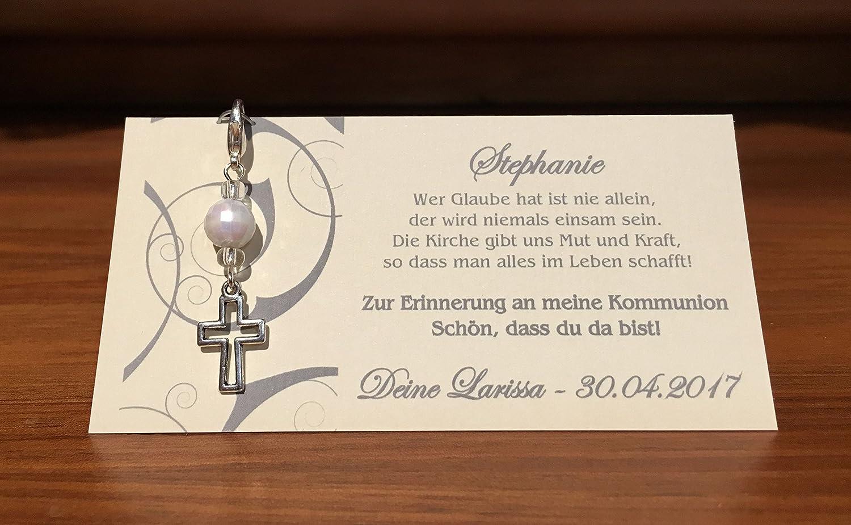Tischkarte Platzkarte Kommunion Konfirmation Taufe Kreuz grau silber