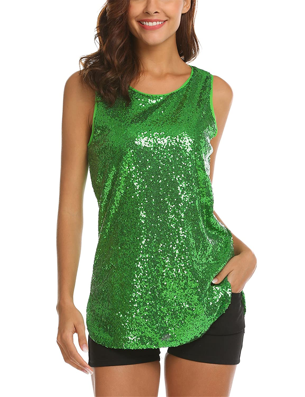 Zeagoo Women's Sleeveless Sparkle Shimmer Camisole Vest Sequin Tank Tops ZTH008968