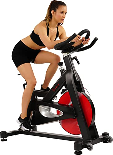 Sunny Health Fitness Evolution Pro Magnetic Belt Drive Indoor Cycling Bike