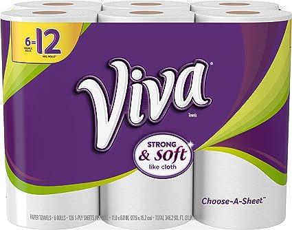 VIVA Choose-A-Sheet* Paper Towels White Big Roll 6 Rolls Pack of 4