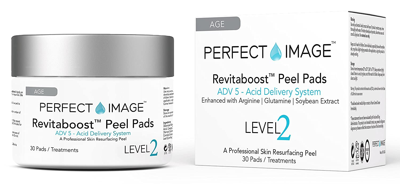 REVITABOOST PEEL Anti-Aging Peel Pads (30) - Enhanced with Glycolic | TCA | Mandelic Acid | Arginine | Glutamine | Soybean PERFECT IMAGE