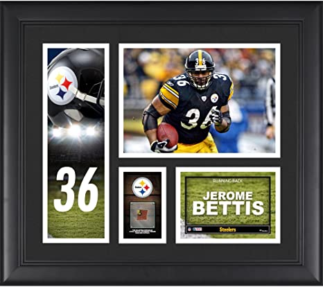 "61b9b2168 Jerome Bettis Pittsburgh Steelers Framed 15"" x 17"" Player Collage  with a Piece of"