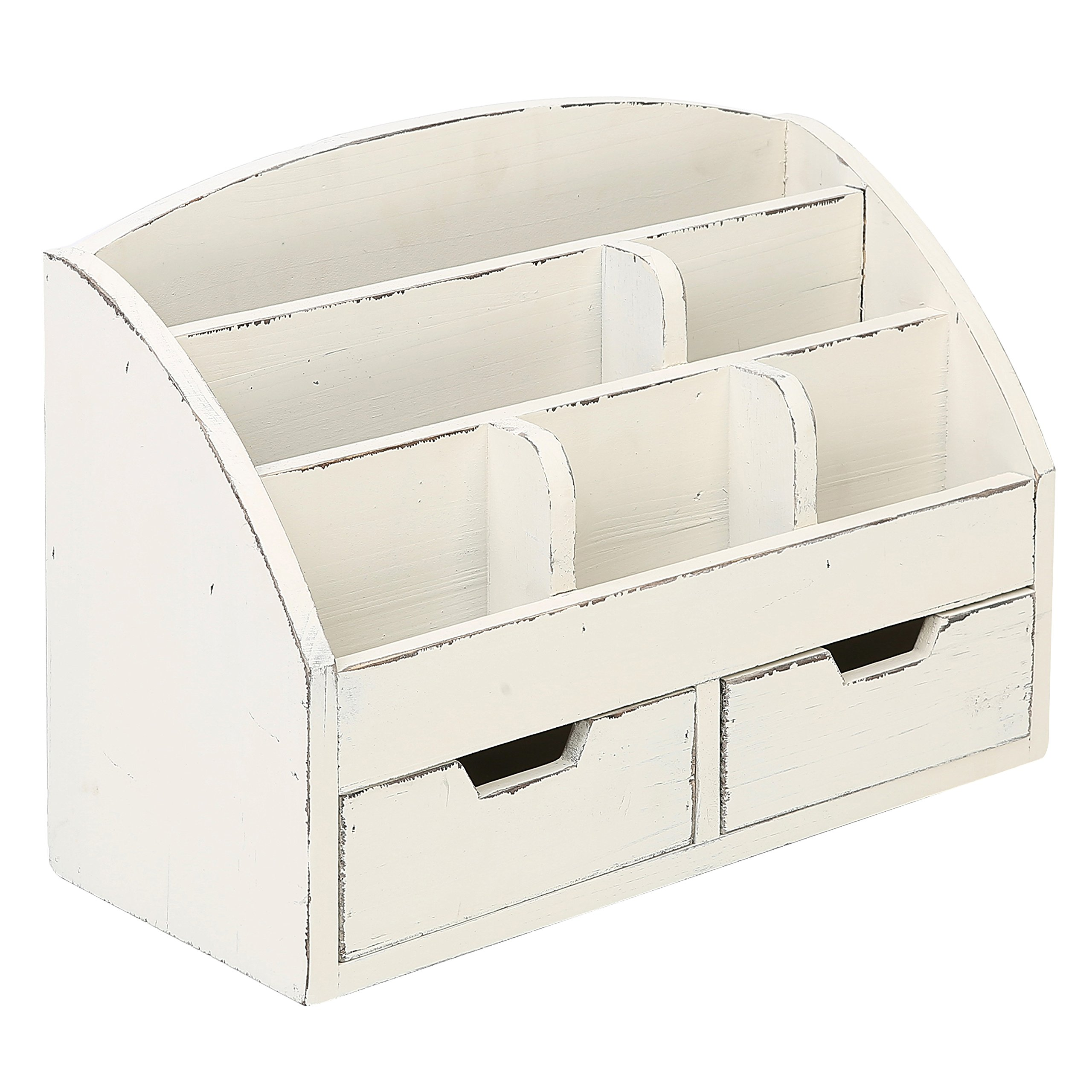 MyGift Vintage White Wood Desk Organizer / 6 Compartment, 2 Drawer Office Supplies Cabinet by MyGift