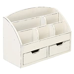 MyGift Vintage White Wood Desk Organizer / 6 Compartment, 2 Drawer Office Supplies Cabinet