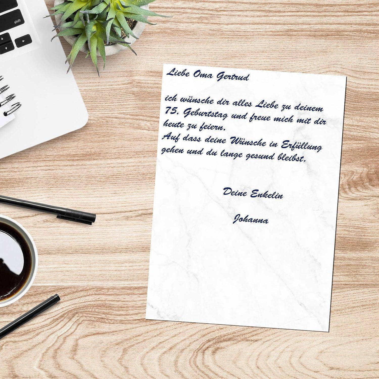 Presentou Juego de 25 papeles de carta impresos por ambos lados, 120 gramos, papel con diseño de papel para certificados, carta de amor (veteado, 25 + ...