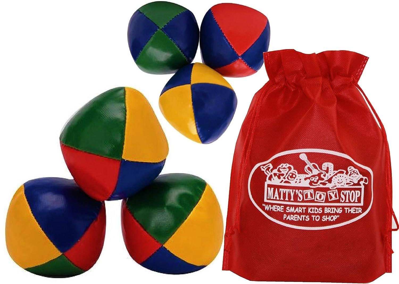 Schylling Juggling Set with Classic Juggling Balls Mini Juggling Balls Gift Set Bundle with Bonus Matty's Toy Stop Storage Bag 2 Pack