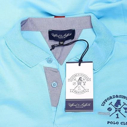 Ufford & Suffolk Polo Club L hombre del polo de manga corta azul ...