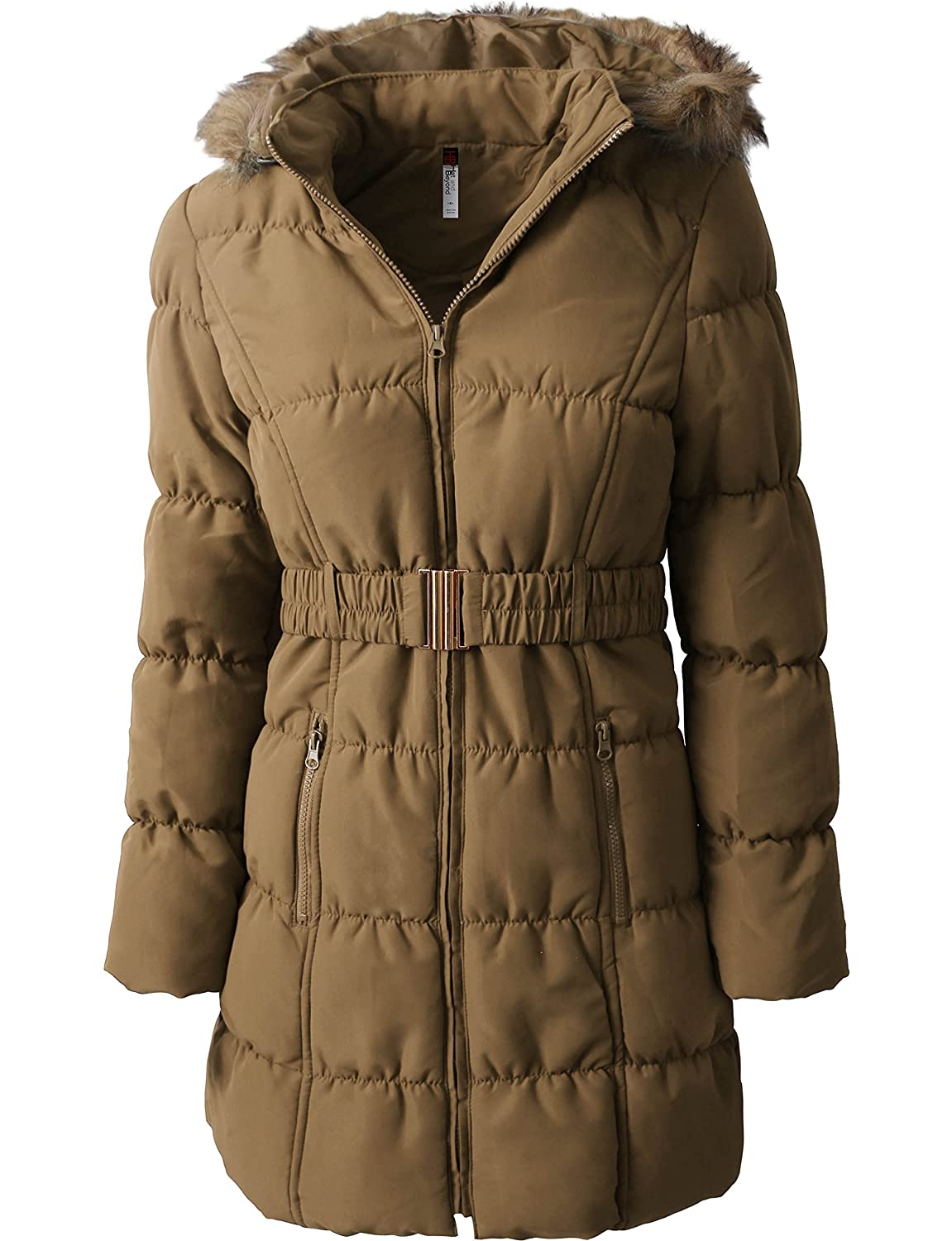 785affe24394 Womens Quilted Faux Fur Jackets Warm Parka Lined Belted Insulated Puffer  Coats