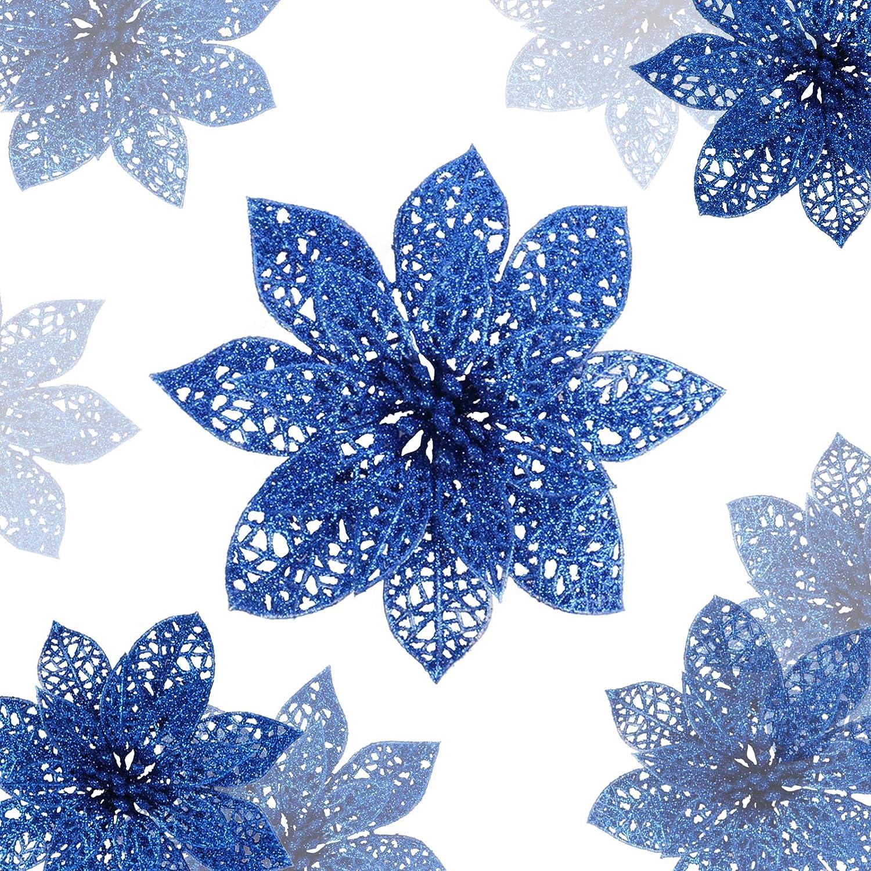 DEEMEI 20 Pcs 6 Inch Christmas Flowers Glitter Poinsettia Silk Artificial Flower Picks Blue Christmas Decorations for Gold Tree Wreaths Garland Christmas Ornaments Winter Holiday Decor (Navy Blue)