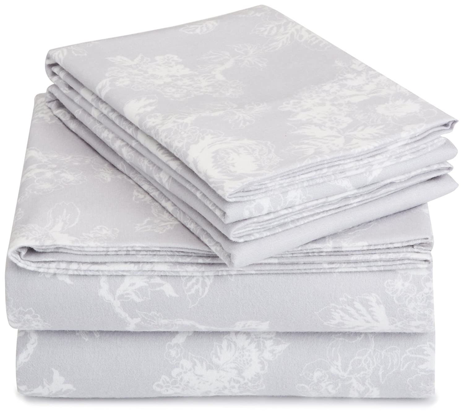 AmazonBasics Printed Lightweight Flannel Sheet Set - Full, Floral Grey