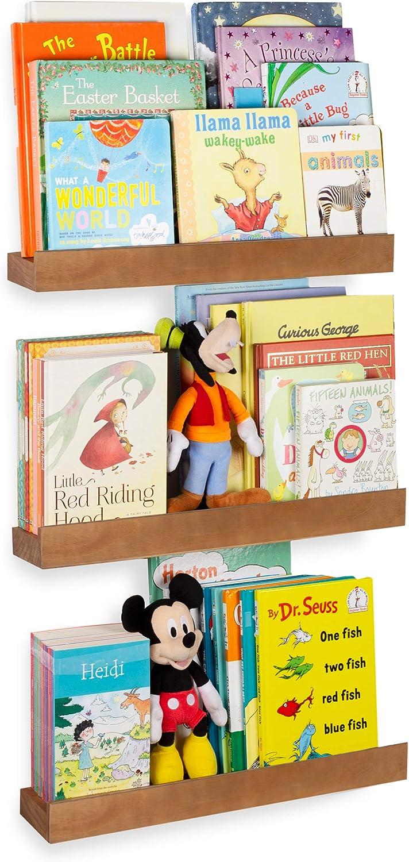 Rustic State Smith Wood Baby Nursery Kids Room Bookshelf   Farmhouse Decor Picture Ledge Shelves Display Walnut Set of 3 (17 Inch)