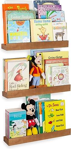 Rustic State Smith Wood Baby Nursery Kids Room Bookshelf Farmhouse Decor Picture Ledge Shelves Display Walnut Set of 3 17 Inch