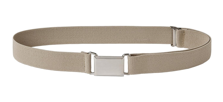 Sportoli Kids Elastic Adjustable Dress Stretch Belt with Silver Square Buckle One Size