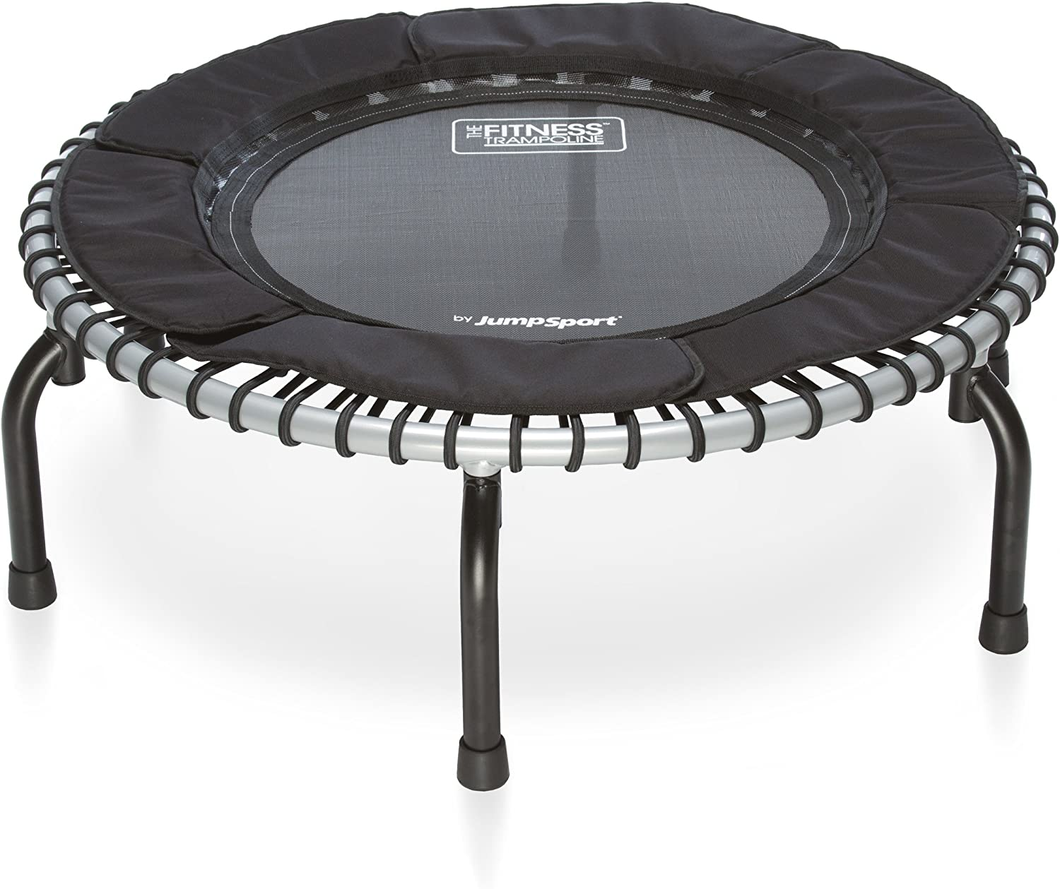 JumpSport Fitness Trampoline Model 370 Top Rated for Quality and Durability Quietest Most Stable Bounce No-Tip Arched Legs 4 Music Workout Videos Included