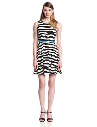 Jessica Simpson Women's Sleeveless Printed Fit and Flare Dress, Black/White, 2