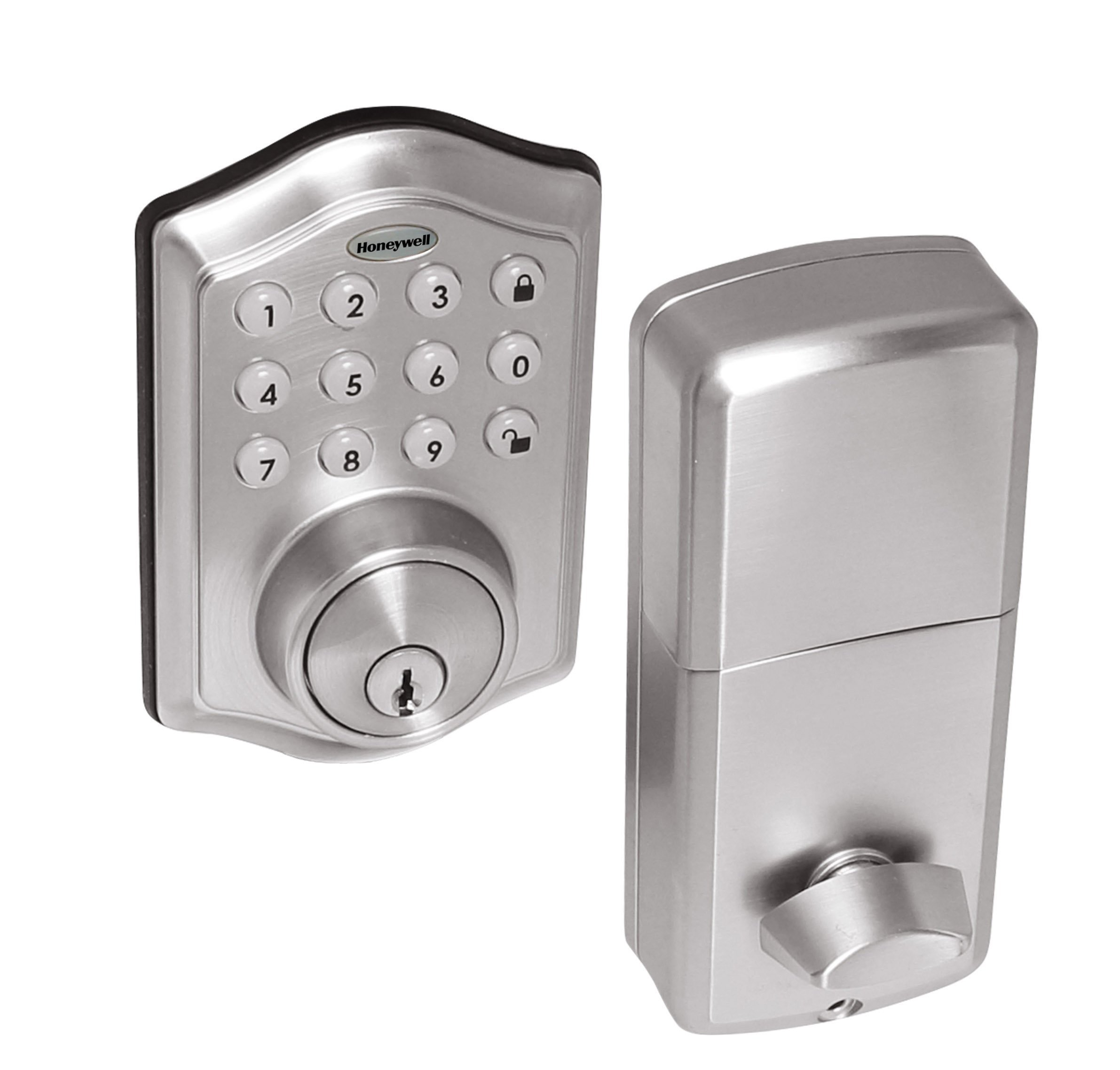 Honeywell Safes & Door Locks 8712309 Electronic Entry Deadbolt with Keypad, Satin Nickel