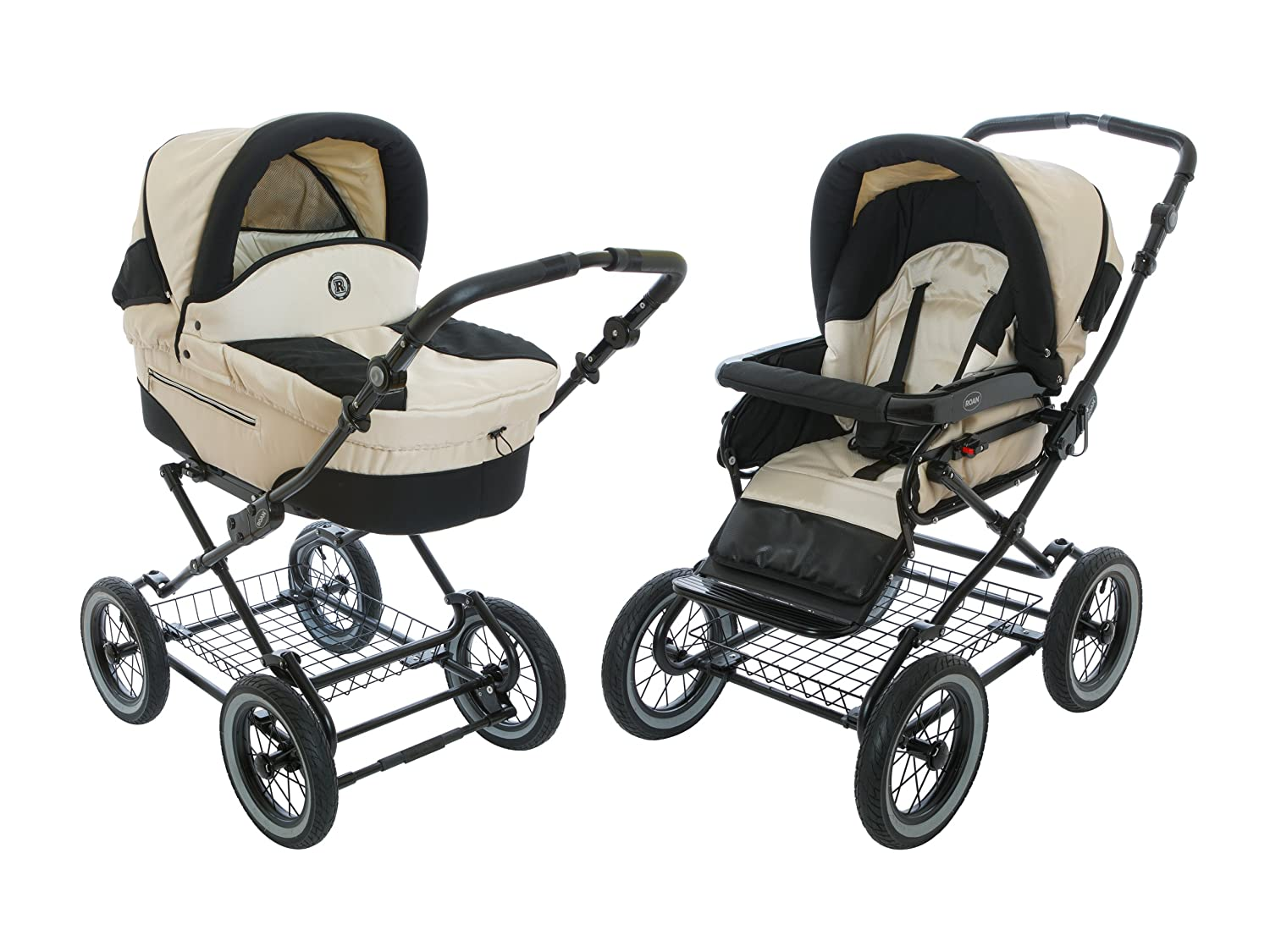 Roan Rocco Classic Pram Stroller 2-in-1 with Bassinet and Seat Unit – Pearl