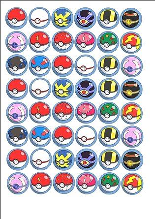 48 X Pokemon Pokeball Pokemon Go Mixed Fairy Cake Toppers Printed On