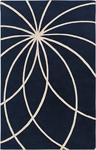 Surya Forum FM-7186 Contemporary Hand Tufted 100 Wool Dark Blue 9 x 12 Abstract Area Rug