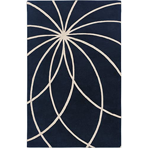 Surya Forum FM-7186 Contemporary Hand Tufted 100 Wool Dark Blue 4 x 6 Abstract Area Rug