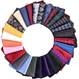 28 Pack Pocket Squares for Men Men's Handkerchief Mens Pocket Squares Set Assorted Colors with a Holder