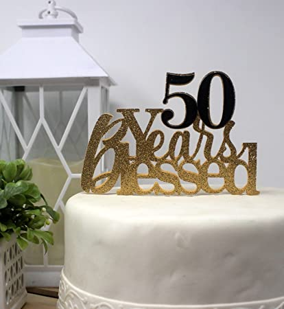 Amazon Com All About Details Cat50yb 50 Years Blessed Cake Gold