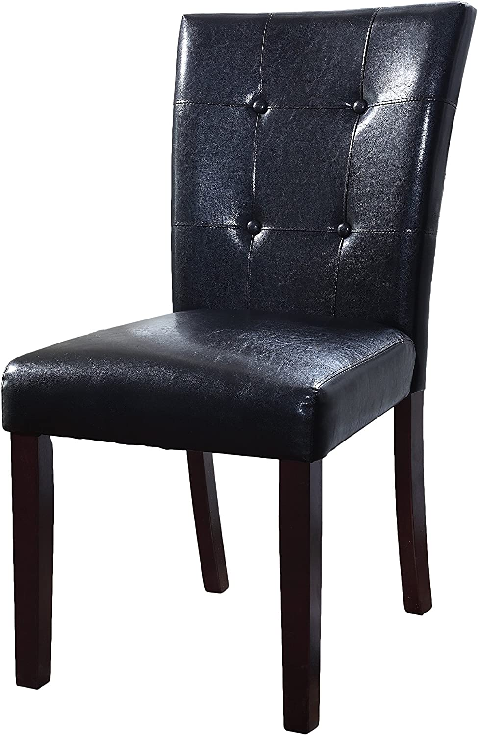 Best Master Furniture Upholstered Tufted Faux Leather Dining Side Chair - Set of 2, Black