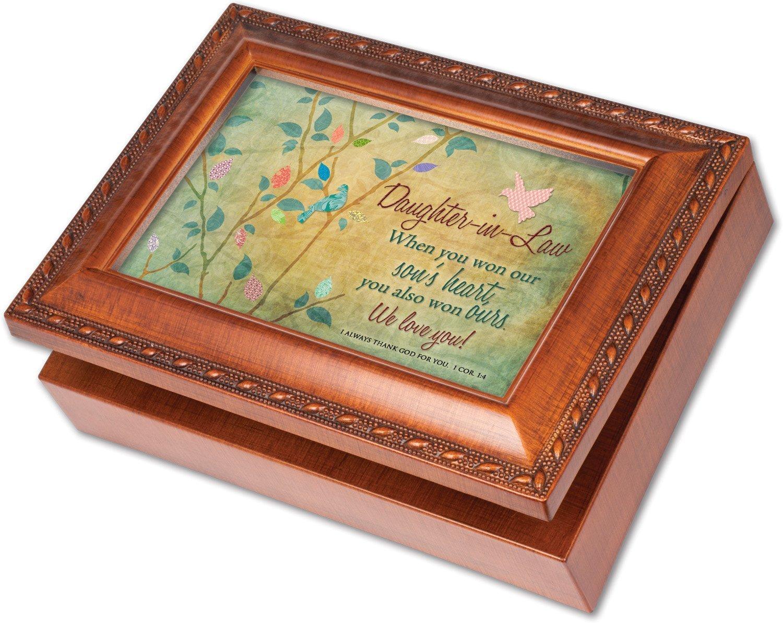 Daughter-in-Law Cottage Garden riche Finition bois avec bordure en corde Bijoux Boîte à musique joue chanson Amazing Grace AX-AY-ABHI-66850