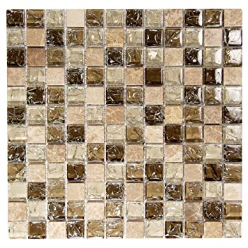 Brown, Tan 1x1 Mosaic Glass Tile - Cracked Glass Tile and Natural ...