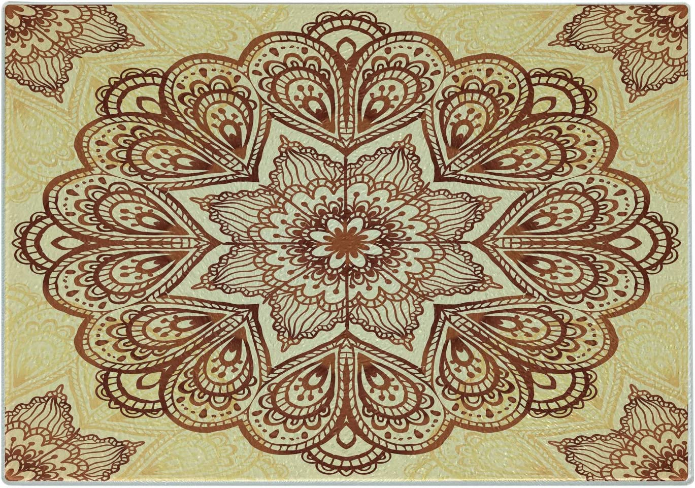 Amazon Com Lunarable Mandala Cutting Board Floral Mandala Circular Form Pattern Vintage Style Image Decorative Tempered Glass Cutting And Serving Board Large Size Chocolate Cream Kitchen Dining