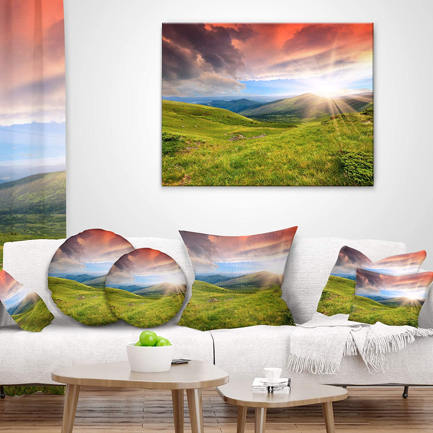 Designart CU9619-16-16-C Green Summer in Carpathians Landscape Photo Round Cushion Cover for Living Room Insert Printed On Both Side Sofa Throw Pillow 16
