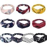 KECUCO Boho Headbands for Women Vintage Flower Printed Criss Cross Elastic Head Wrap Twisted Cute Hair Accessories (10…