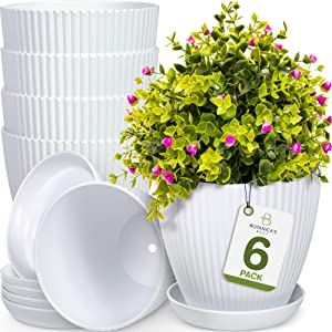 Botanica's Best 6 inch Plant Pots for Plants - Set of 6 White Modern Indoor and Outdoor Plastic Planter Flower Pot for Office Decor and Patio Garden - Planters Include Drainage Hole and Saucer Tray