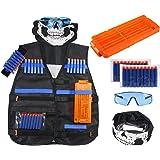 Kit de gilet tactique niceEshop™ pour enfants - Gamme Elite N-Strike - Pour pistolet Nerf - 20fléchettes de rechange + clips de recharge + bracelet + lunettes de protection + masque facial tactique - Excellent jouets et cadeaux pour jeux de garçons
