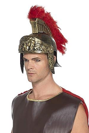 Smiffys-48407 Casco de Espartano Romano, de plástico, con penacho de Plumas Desmo, Color Oro y Rojo, No es Applicable (SmiffyS 48407)