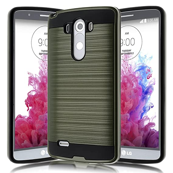 super popular 14402 4a6bb LG G3 Case,Kmall [Brushed Metal Texture] Heavy Duty Shockproof High Impact  Resistant Durable Full Body [Maximum Drop Protection][Slim Fit] Hybrid Case  ...