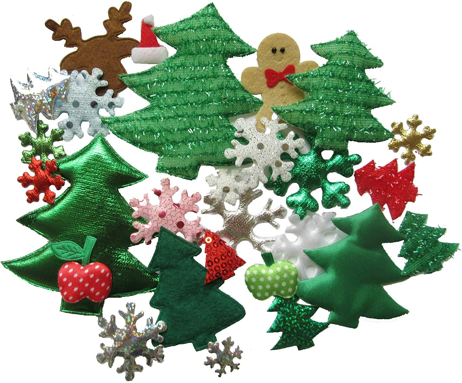 YYCRAFT Assorted 50pcs Christmas Padded Applique Patches for Sewing,Christmas Tree Snowflake Snowman Mix Appliques for Craft Embellishment and Christmas Party Decoration