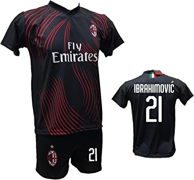 DND Di DAndolfo Ciro completo fútbol Milan Terza Camiseta Zlatan Ibrahimovic negra y pantalón corto con número 21 impreso réplica autorizada 2019-2020 tallas para niño y adulto: Amazon.es: Deportes y aire libre