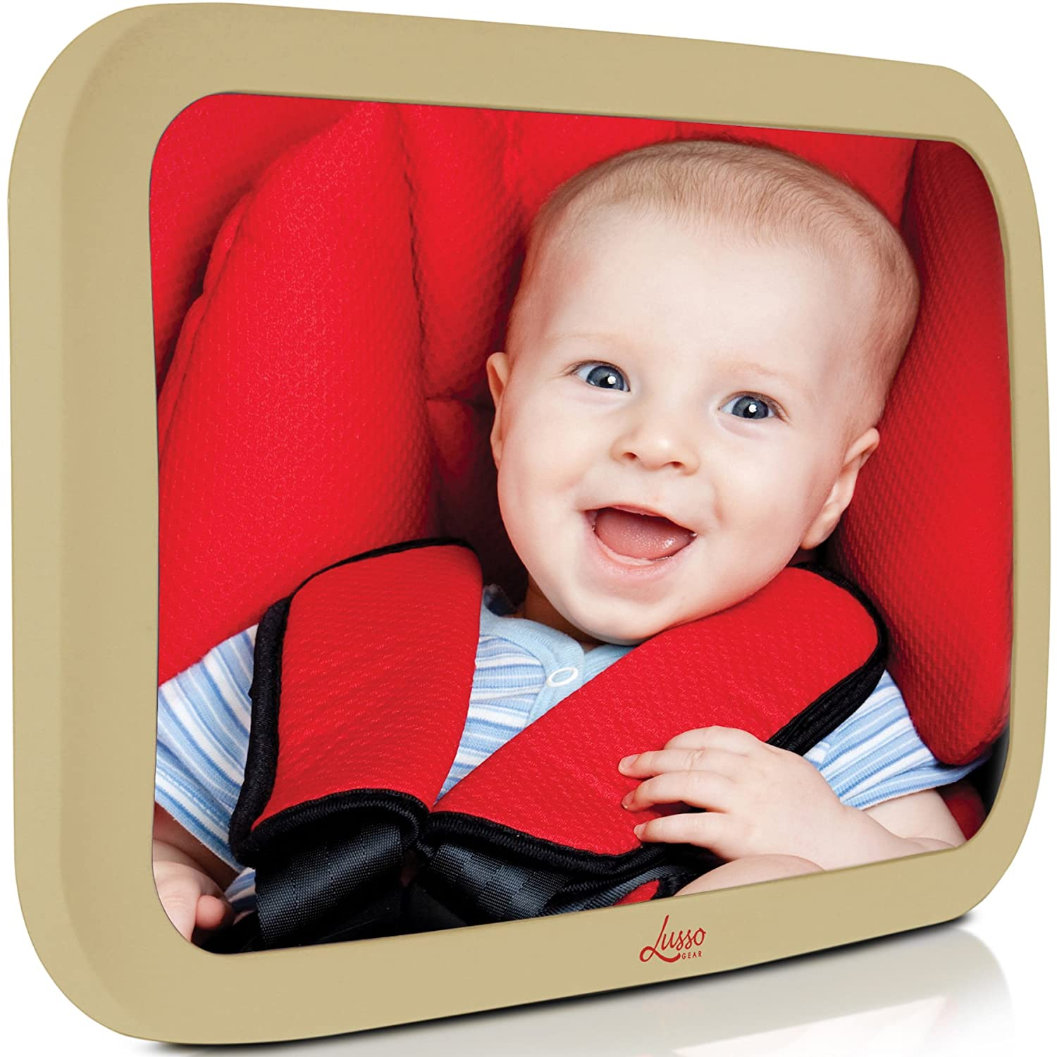 Baby Backseat Mirror for Car - Largest and Most Stable Mirror with Premium Matte Finish - Crystal Clear View of Infant in Rear Facing Car Seat - Safe, Secure and Shatterproofvcv Lusso Gear